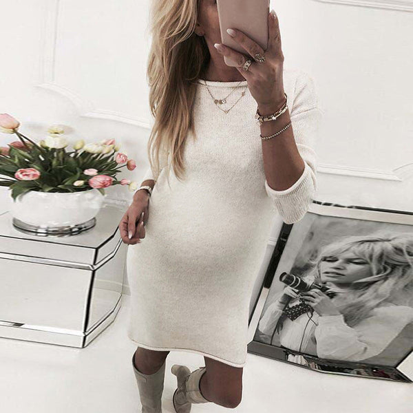 Maternity Solid Color Round Neck Long Sleeve Bag Hip Dress