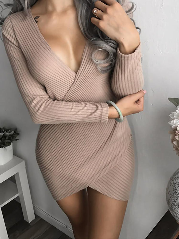 Maternity Casual V Neck Pure Colour Stripe Dress