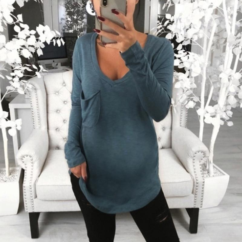 Maternity Casual Deep V-Neck Long Sleeve Plain Loose T-Shirt
