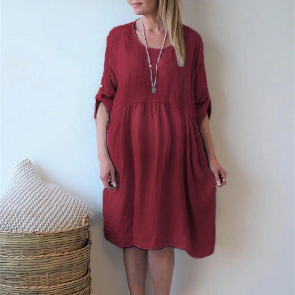 Maternity Casual Round Neck Pure Colour Batwing Sleeve Dress