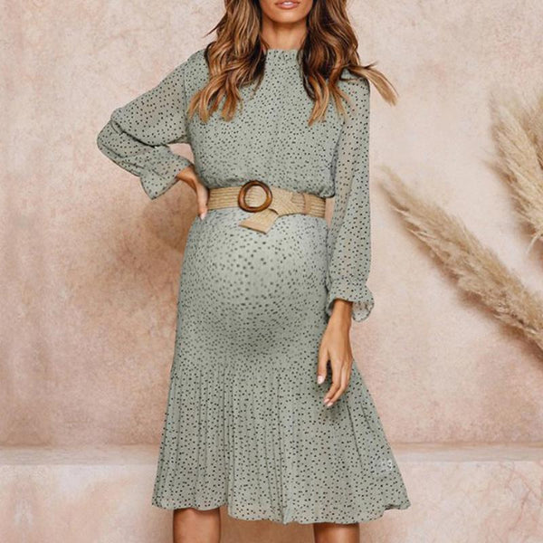Maternity Fashion Floral Lace Chiffon Dress