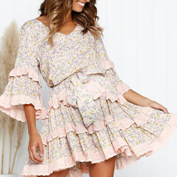Maternity Fashion Casual Print Dress Layered Ruffled Princess Dress