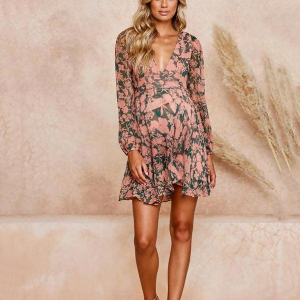 Maternity Fashion Deep V-Neck Long Sleeve Floral Printed Dress