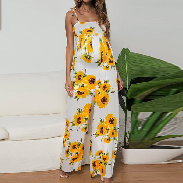 Maternity Casual Boat Neck Off-Shoulder Sleeveless Printed Colour Dress