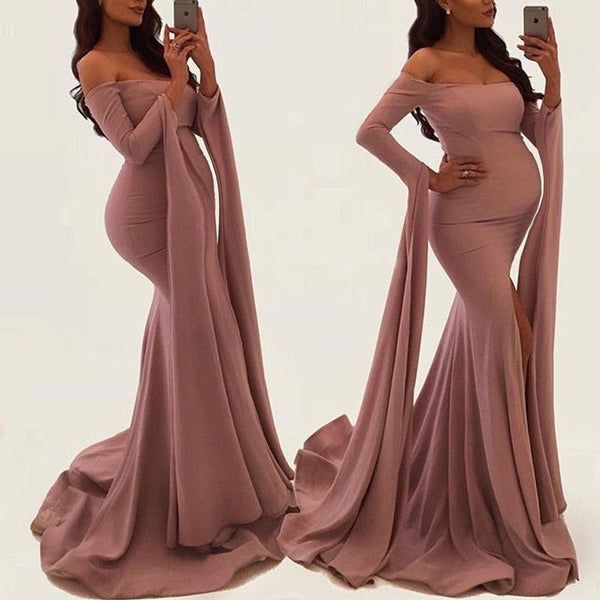 Maternity Solid Color Off Shoulder Props Gown Dress