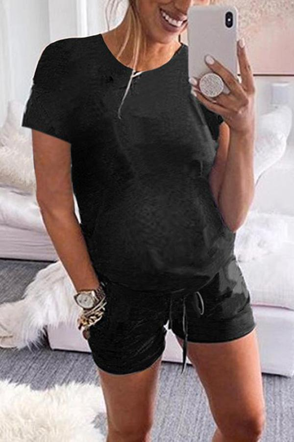 Maternity Casual Round Neck Pure Colour Short Sleeve Romper