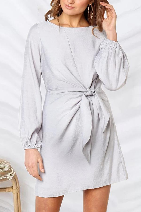 Maternity Solid Color Round Neck Waist Dress