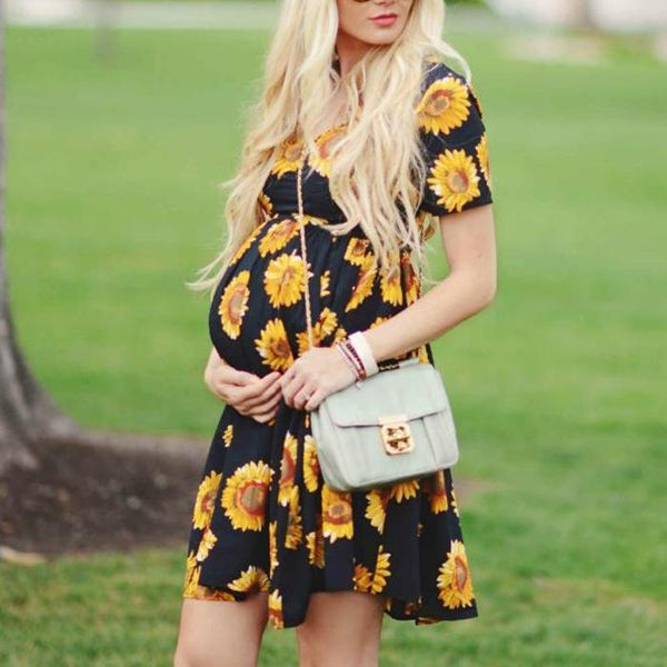 Pregnant women short sunflower pattern Dress