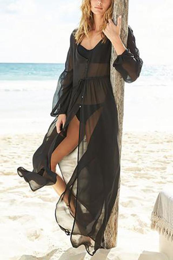 Maternity Chiffon Single-Breasted Beach Blouse