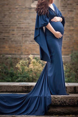 Maternity Casual Deep V Neck Pure Color Dress