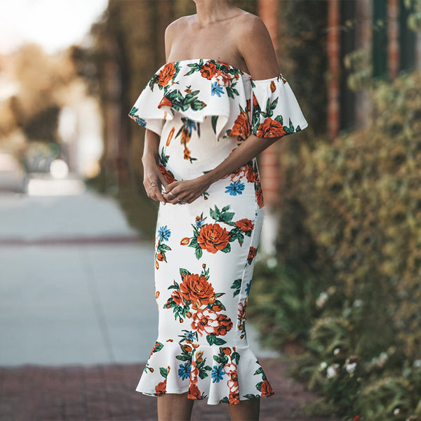 Maternity Falbala Off The Shoulder Printed Dress