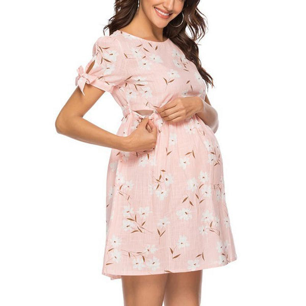 Maternity Round Collar Short Sleeve A-Line Dress