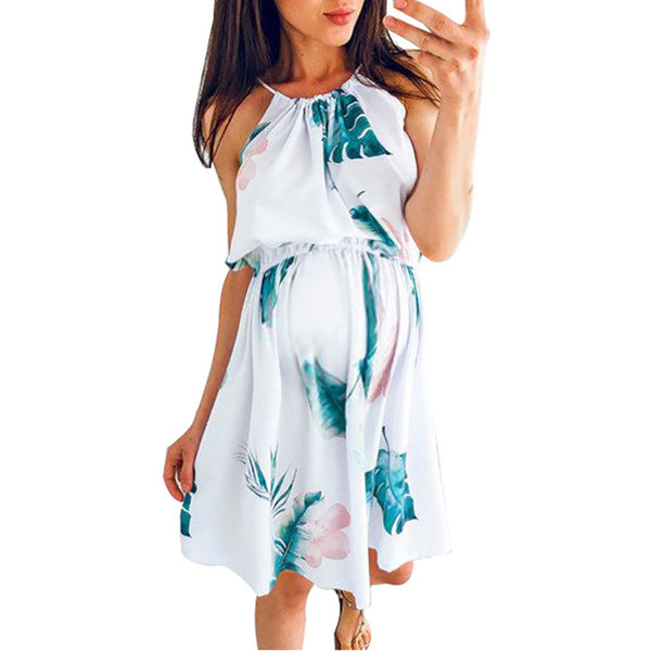 Maternity Halter Printed Casual Above Dress