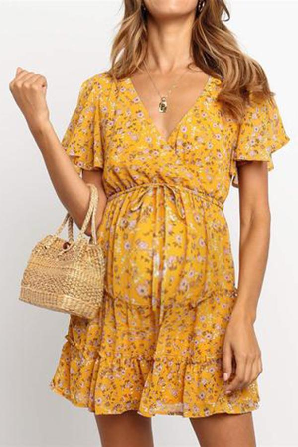 Maternity Women's V-Neck Ruffled Floral Dress