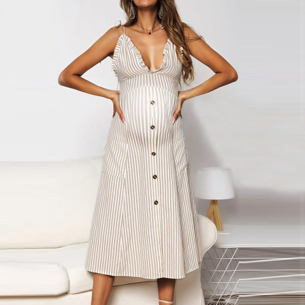 Maternity Sexy Striped Button Dress