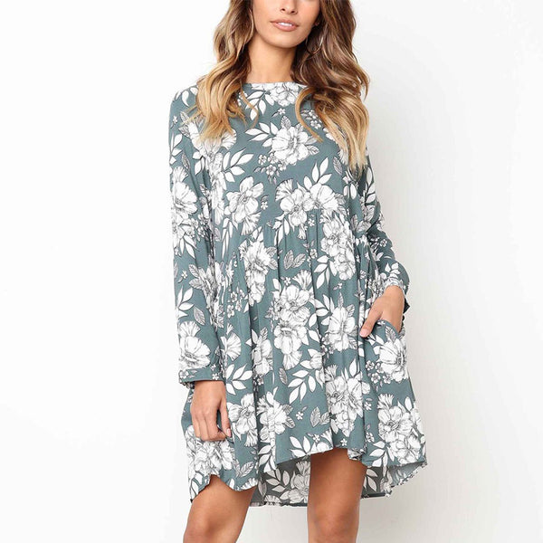 Maternity Casual Long Sleeve Printed Colour Dress