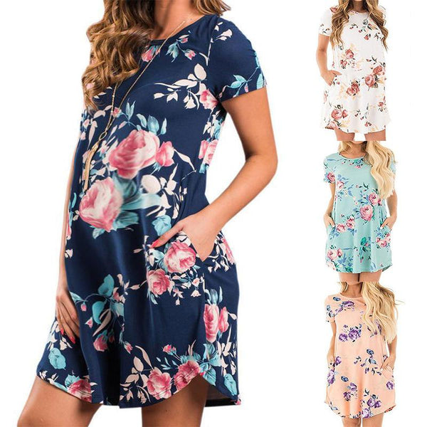 Maternity Short Sleeve Printing Casual Dress