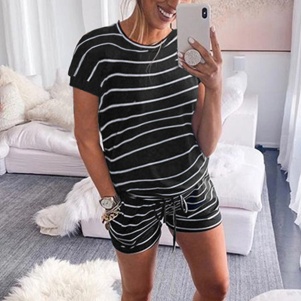 Maternity Fashion Round Neck Short Sleeve Stripe Loose Romper