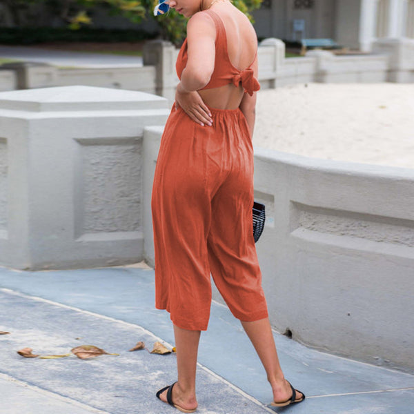 Maternity Solid Color Backless Straps Are Loose Jumpsuit