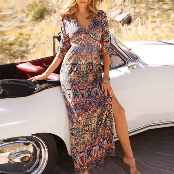 Maternity Deep V Half Sleeve Print High Forked Dress