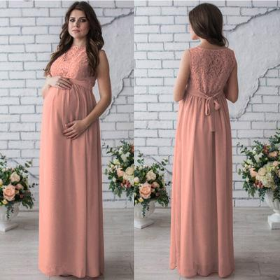 Maternity Patchwork Solid Color Long Dress