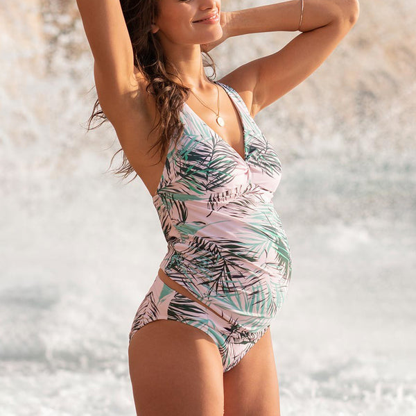 Maternity Pink Green Leaf Print Swimsuit