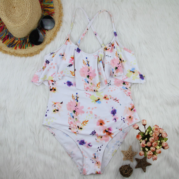 Maternity Printed Lotus Leaf One-Piece Swimsuit