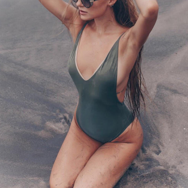 Maternity Two-Sided Contrast Color One-Piece Swimsuit