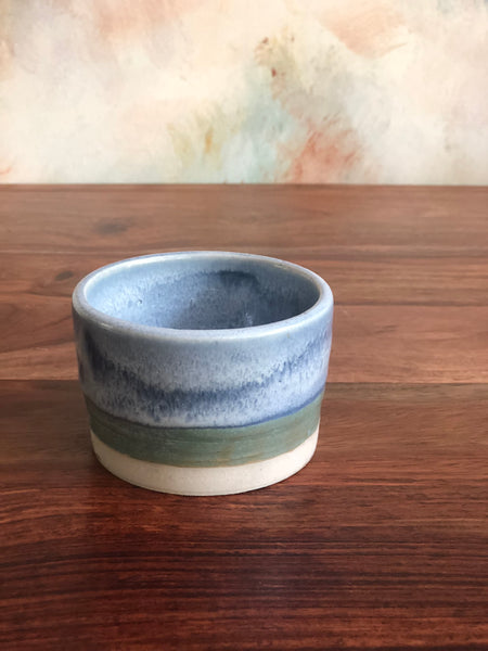 Green and blue dip glazed salt cellar