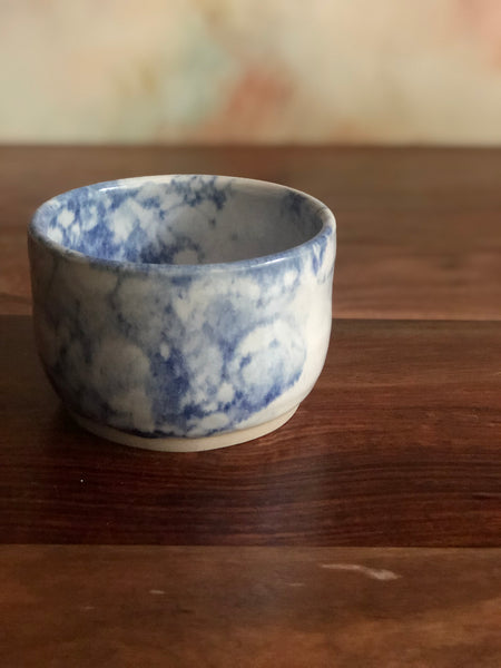 Blue bubble-glazed lidless sugar bowl