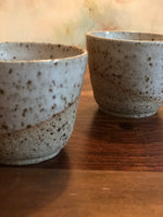 White-dipped raw iron clay cups