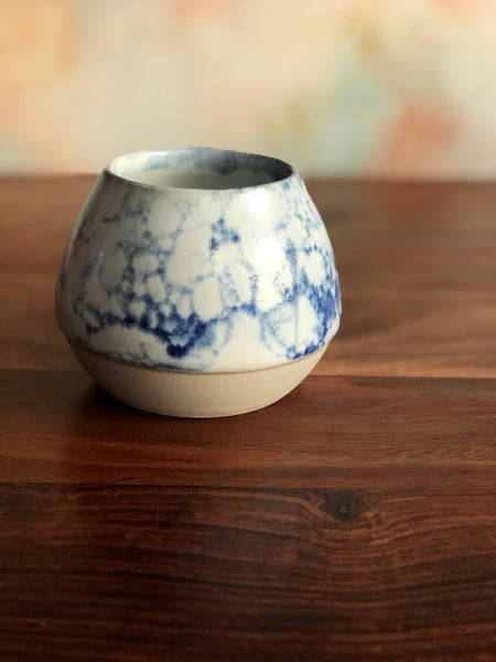 Blue bubble-glazed gumnut vase
