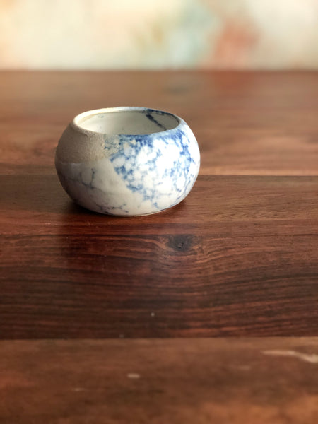Blue bubble-glazed sea-urchin vase