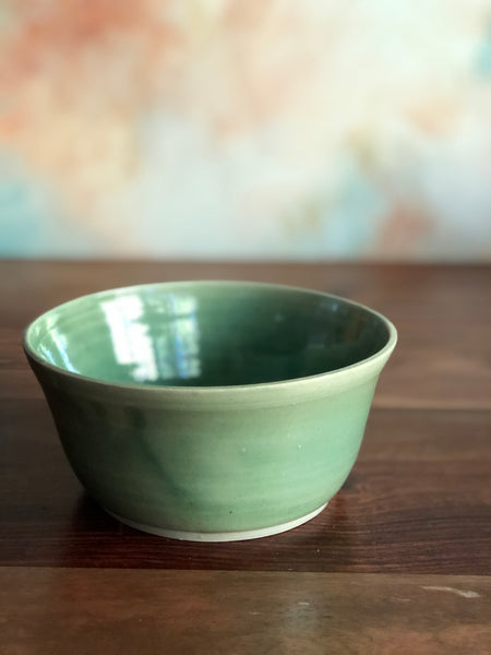 Clear green cereal bowl