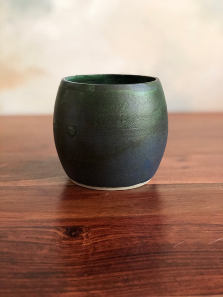 Matte green small planter or vase no. 3