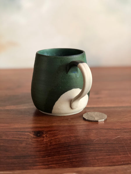 Matte green and blue diagonal mug