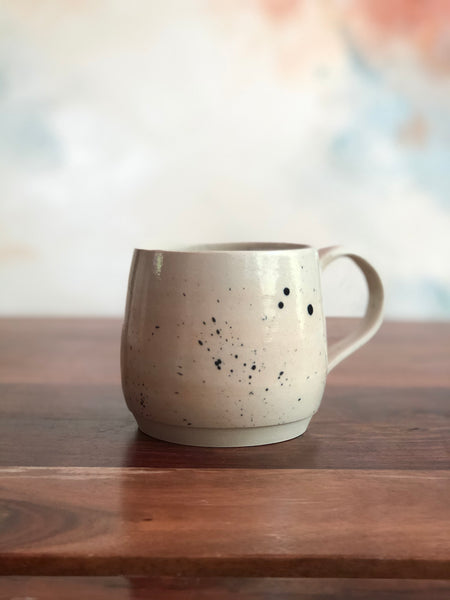 Spattered white mug