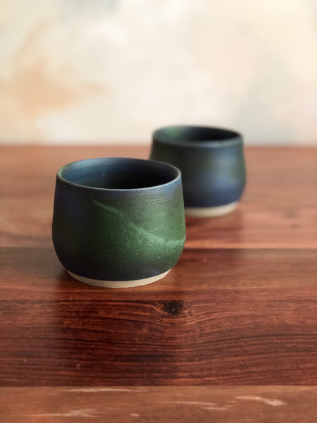 Matte green and blue tiny cups (set of 2)