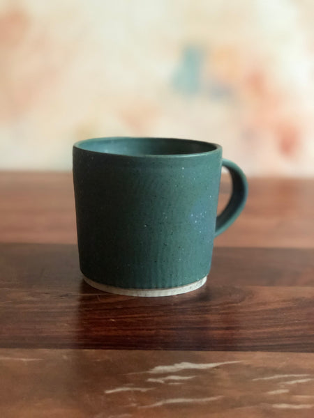 Speckled teal ripple mugs