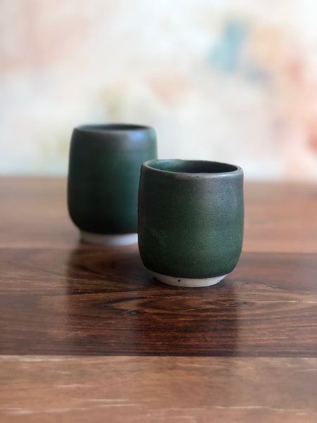 Mismatch green sake cups (set of 2)