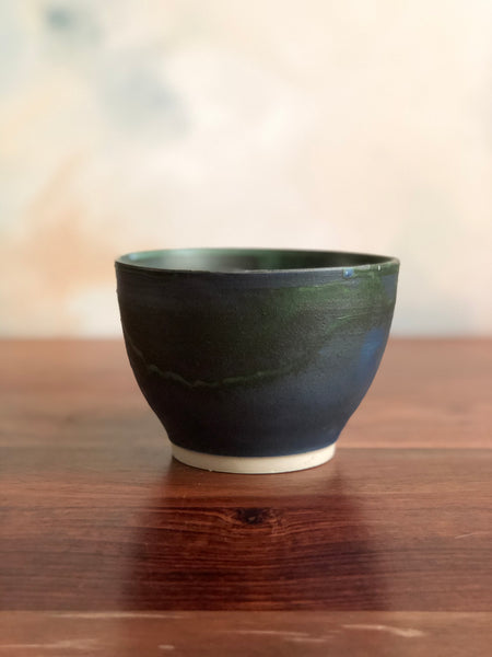 Matte green and blue small miso bowl