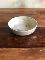Green and grey painted shallow bowl