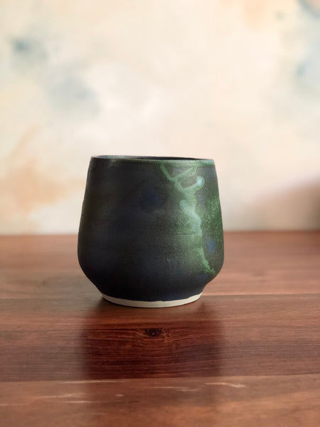 Matte green and blue acorn vase