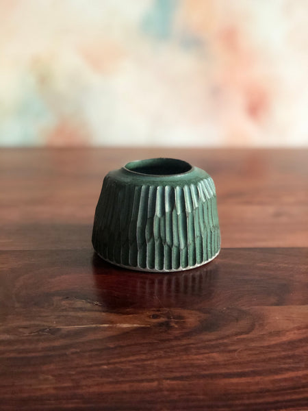 Carved green inkwell bud-vase