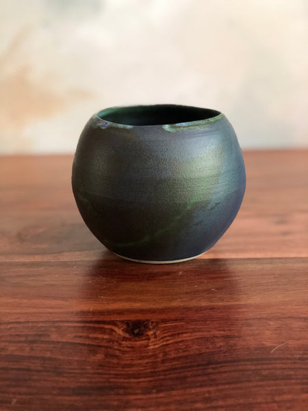 Matte green small planter or vase no. 2