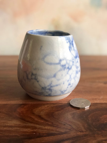 Medium blue bubble-glazed gumnut vase