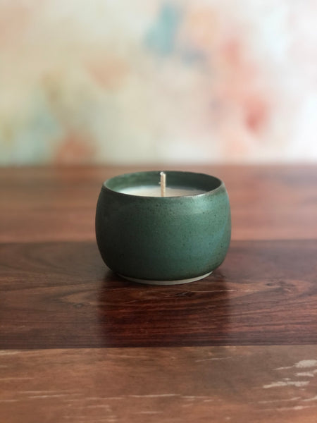 Small dark green candle cup