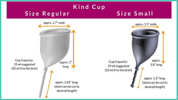 Chart showing measurements of Kind Cup Size Regular and Size Small