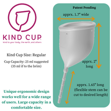 Load image into Gallery viewer, Kind Cup menstrual cup measurements