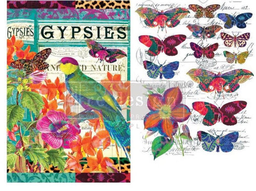 Boho Birds & Butterflies Rub In Transfer